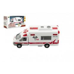 Obrázek Auto ambulance městské služby plast 15cm na baterie se zvukem se světlem v krabici 19x10x7cm