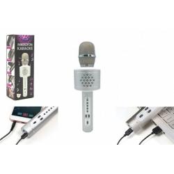 Obrázek Mikrofon karaoke Bluetooth stříbrný na baterie s USB kabelem v krabici 10x28x8,5cm
