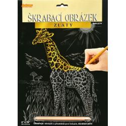 Obrázek Škrabací obrázek zlatý - Žirafa