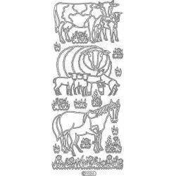Obrázek Obrysové samolepky- Kráva, ovce, kůň- zlaté
