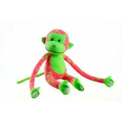 Obrázek Opice svítící ve tmě plyš 45x14cm růžová/zelená