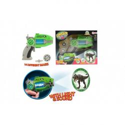 Obrázek Pistole projekční dinosaurus plast 16cm na baterie se zvukem a světlem v krabici 24x19x6cm