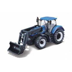 Obrázek Traktor Bburago s nakladače Fendt 1050 Vario/New Holland kov/plast 16cm 2 druhy v krabičce 21x11x8cm