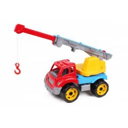 Obrázek Auto stavební jeřáb plast 3 barvy v síťce 19x21x36 cm
