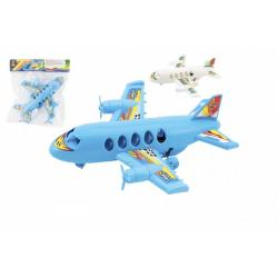 Obrázek Letadlo plast 20cm na zpětný chod 2 barvy v sáčku