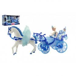 Obrázek Panenka s koňem a kočárem plast na baterie se světlem v krabici 56x30x19cm