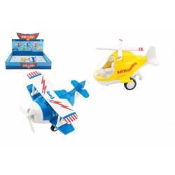 Obrázek Letadlo/vrtulník kov/plast 10-11cm na zpětné natažení 6 barev 12ks v boxu