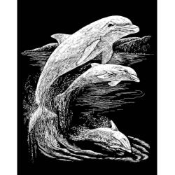 Obrázek Škrabací obrázek Royal stříbrný - Delfíni