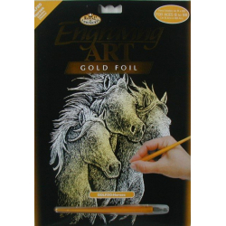 Obrázek Škrabací obrázek Royal zlatý - Koně
