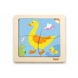 Obrázek Dřevěné puzzle 4 dílky - kachna