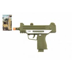 Obrázek Pistole samopal plast 17,5cm na baterie se zvukem se světlem 2 barvy na kartě