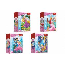 Obrázek Minipuzzle 54 dílků Dobrodružný svět princezen 4 druhy v krabičce 9x6,5x4cm 40ks v boxu