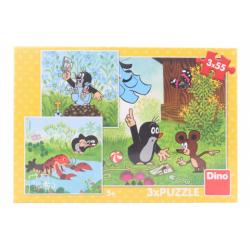 Obrázek Puzzle Krteček a kalhotky 3 x 55 dílků