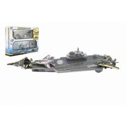 Obrázek Letadlová loď 24cm + stíhačky 3 ks plast v krabici 29x22x7cm
