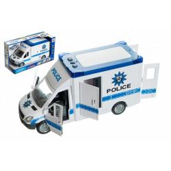 Obrázek Auto policie plast 28cm na setrvačník na baterie se zvukem se světlem v krabici 32x18x12cm