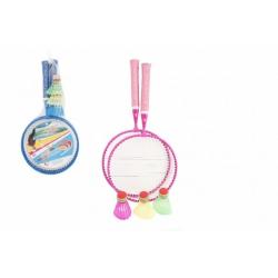Obrázek Badminton sada dětská kov/plast 2 pálky + 3 košíčky 2 barvy v síťce 23x45x6cm