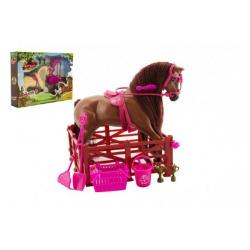 Obrázek Kůň česací s doplňky a ohradou plast asst 2 barvy v krabici 45x33x9cm
