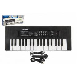 Obrázek Piánko/Varhany/Klávesy 37 kláves plast napájení na USB + mikrofon 40cm v krabici 41x15x4cm