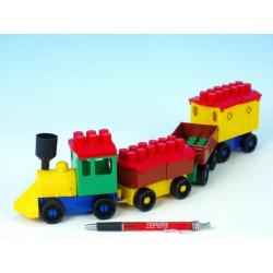 Obrázek Stavebnice LORI 6 vlak+ 3 vagónky plast v sáčku