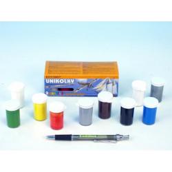 Obrázek Unikolky modelářské barvy sada 9 barev + matný lak zdarma v krabičce