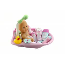 Obrázek Bábätko kúpacie s vaničkou a doplnky plast 30cm