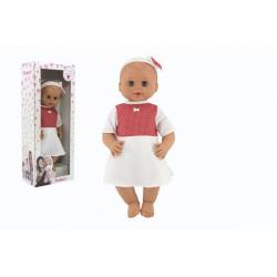 Obrázek Panenka/Miminko Hamiro mrkací 50cm, pevné tělo, šaty bílé + červený puntík v krabici 24x60x15cm 0m+