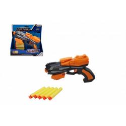 Obrázek Pistole na pěnové náboje 20x14cm plast + 5ks nábojů 2 barvy na kartě