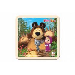 Obrázek Skládačka Puzzle dřevo Máša a Medvěd s myškou 4ks 15x15cm 12m+