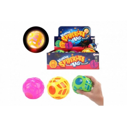 Obrázek Míček s pavučinou antistresový skákací gumový 10cm na baterie se světlem  3 barvy v síťce 6ks v boxu