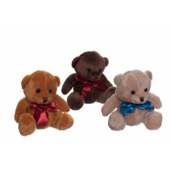 Obrázek Medvěd/Medvídek sedící se mašlí plyš 3 barvy 15cm v sáčku 0+