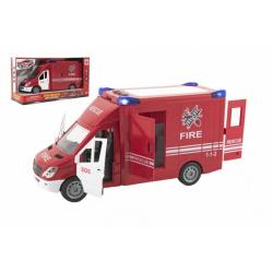 Obrázek Auto hasiči plast 28cm na setrvačník na baterie se zvukem se světlem v krabici 32x18x12cm