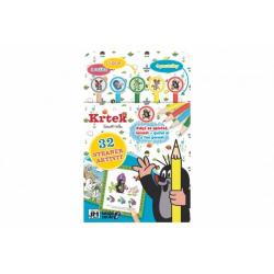 Obrázek Aktivity Krtek s 1 tužkou, 5 gumami, 4 pastelkami na kartě 17x27cm