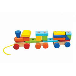 Obrázek Vlak + 2 vagóny dřevo tahací stavebnice 19 dílků v krabičce 37x12x9cm 18m+