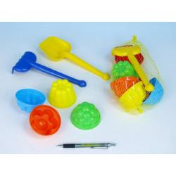 Obrázek Sada na písek plast lopatka, hrabičky, 4ks bábovky v síťce