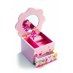 Obrázek Skříňka šperkovnice Princess dřevo hrající květina zásuvka 14,5x8x14,5cm