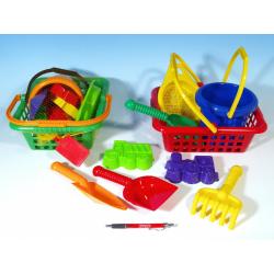 Obrázek Košík sada - 2 bábovky rýč lopatka hrabičky sítko kbelík nákupní košík plast od 12 měsíců