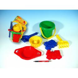 Obrázek Kbelík sítko lopatka hrabičky 3 bábovky plast  od 12 měsíců