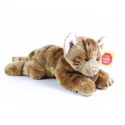 Obrázek plyšová kočka ležící hnědá 18 cm