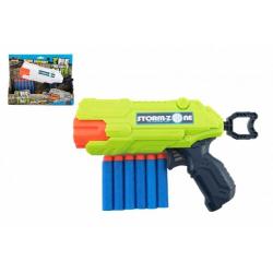 Obrázek Pistole na pěnové náboje 22cm plast + 6 ks nábojů 2 barvy v krabici 26x21x5cm