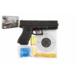 Obrázek Pistole na kuličky 20cm plast + vodní kuličky 6mm,pěnové náboje 3ks,gumové kul. v krabičce 23x15x4cm
