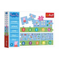 Obrázek Puzzle vzdělávací Čísla Prasátko Peppa/Peppa Pig 20 dílků 117x19,5cm v krabici 33x23x6cm