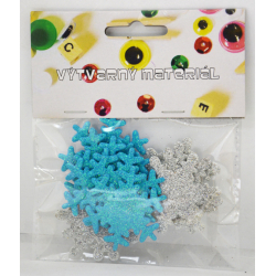 Obrázek Penové trblietavé vločky samolepiace - modrej a strieborný 12 ks