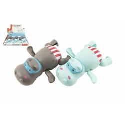 Obrázek Zvířátko hroch na natažení do vody na klíček plast 13cm 2 barvy 6ks v boxu