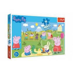 Obrázek Puzzle Prasátko Peppa/Peppa Pig Šťastný den 60x40cm 15 dílků v krabičce 40x26x4,5cm 24m+