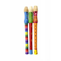 Obrázek Flétna malovaná dřevo 33cm - mix barev