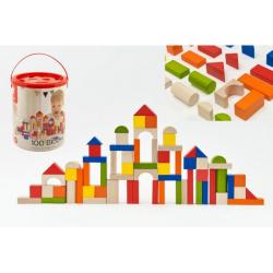 Obrázek Kostky stavebnice dřevo 100ks + vkládačka v papírovém kbelíku 22x27x22cm 12m+