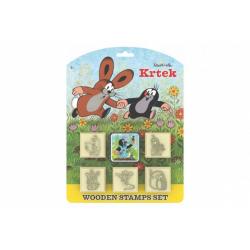 Obrázek Razítka Krtek s poduškou 5x5cm dřevěná 6ks na kartě