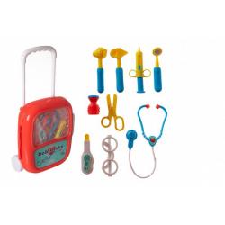 Obrázek Sada doktor/lékař plast se stetoskopem na baterie v plastovém kufříku na kolečkách 24x33x10cm