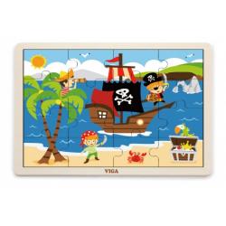 Obrázek Dřevěné puzzle 16 dílků - piráti