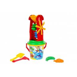 Obrázek Sada na písek plast kbelík, mlýnek s doplňky 4 druhy v síťce 20x42x19cm 12m+